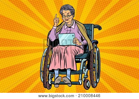 elderly woman disabled person in a wheelchair, gadget tablet. Pop art retro vector illustration