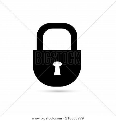 Lock icon black on white background. Vector illustration for your design