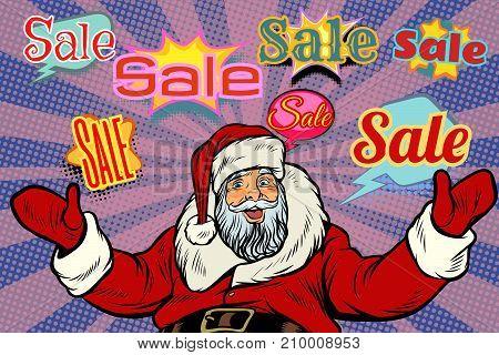 Christmas sale background with Santa Claus. Pop art retro vector illustration