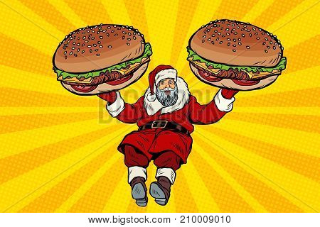 Santa Claus with two burgers, fast food delivery gift. Pop art retro vector illustration