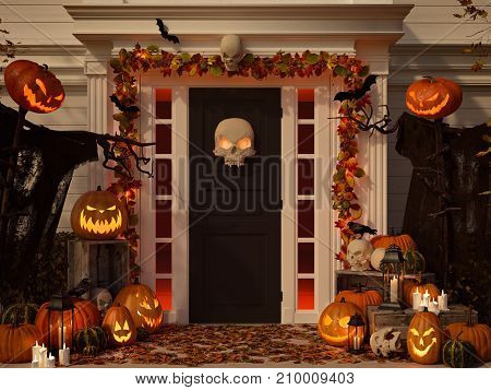 3d rendering. halloween decorated front door with various size and shape pumpkins