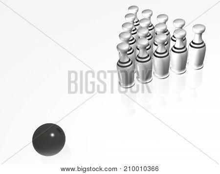 White skittles and ball on white background 3D illustration.