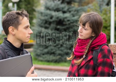 Two Students Talking Outdoor