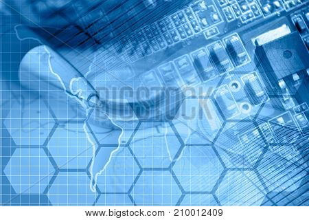 Business background in blues with map electronic device and pen.