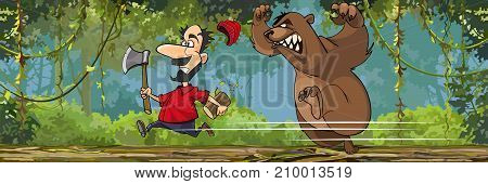cartoon lumberjack with an ax is running away from an angry bear