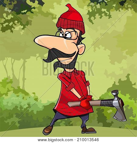 cartoon lumberjack with glasses standing with axe in hands