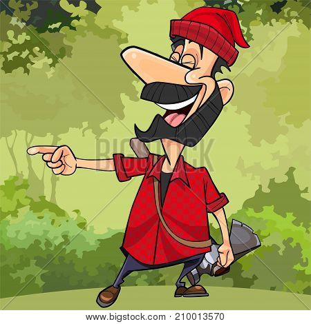 cartoon woodcutter in the forest really laugh pointing to the side