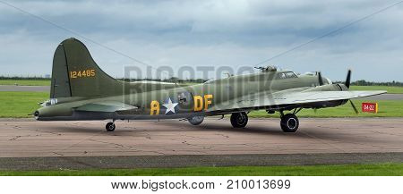 Boeing B17G Flying Fortress Sally B heavy long range bomber at the inaugural RAF Scampton air show in Lincolnshire, UK, 10 September, 2017.
