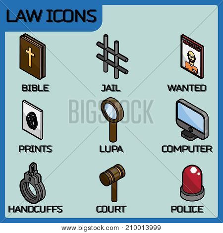 Law color outline isometric icons. Vector illustration, EPS 10