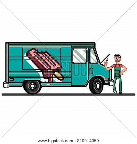 Man finds the cause of the car breakdown. Vector illustration, EPS 10