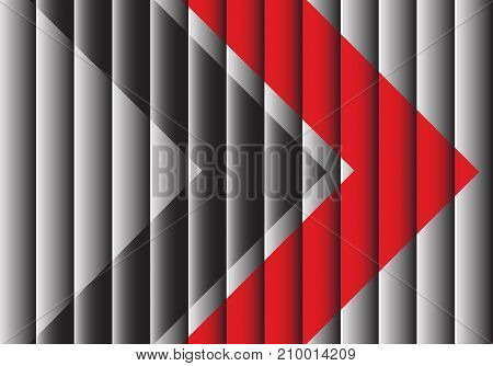 Red and black arrows on gray shutter design modern futuristic creative background vector illustration.
