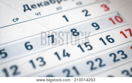 calendar numbers six, seven, eight, nine red ten for you translate: month of December