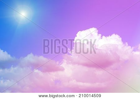 Blue sky with white clouds. rain clouds and sunshine on sunny summer or spring day. Color effect picture.