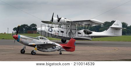 Consolidated Catalina PBY maritime patrol bomber and amphibious flying boat at the inaugural RAF Scampton air show in Lincolnshire, UK, 10 September, 2017.