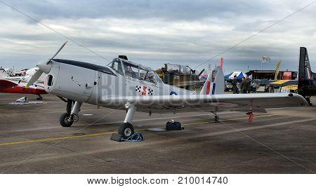 DeHavilland Chipmung vintage RAF training aircraft at the inaugural RAF Scampton air show in Lincolnshire, UK, 10 September, 2017.