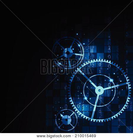 Mechanism of digital work on a dark blue background.