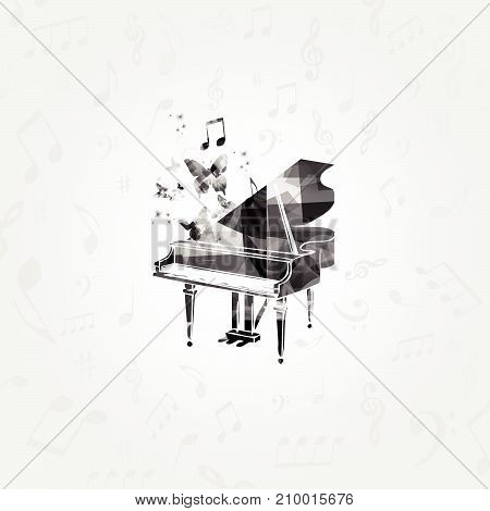 Music black and white design with piano. Music instrument vector illustration. Piano instrument with music notes