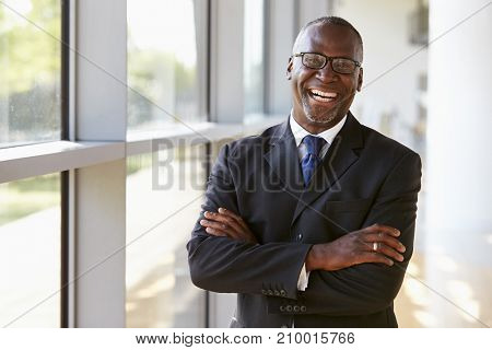Portrait of a smiling businessman with arms crossed