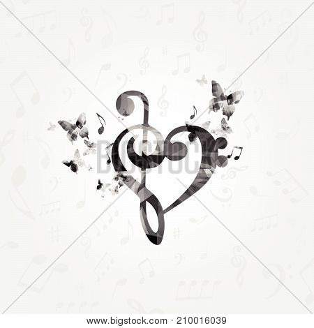Black and white G-clef heart with music notes. Music poster with music notes. Music elements design for card, poster, invitation. Music background vector illustration