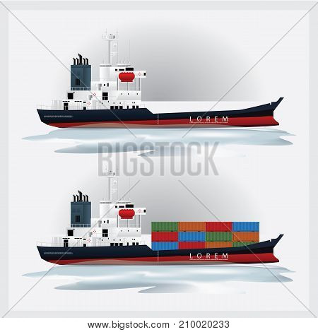 International Cargo Shipping with Containers Vector Illustration