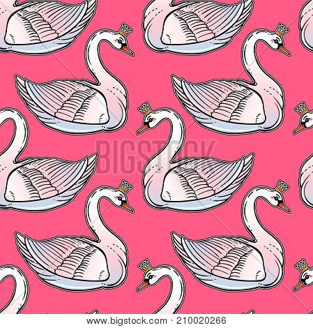 Seamless vintage pin-up pattern with white swan princess. Lovely swans classic flash tattoo style element.