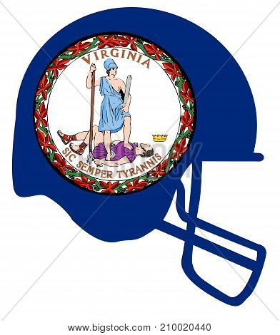 The flag of the USA state of Virginia below a football helmet silhouette