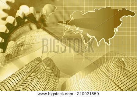 Business background in sepia with buildings map and pen.
