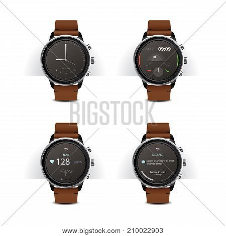 Smart Watch with Digital Display Set Vector Illustration