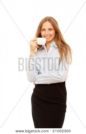 A successful young businesswoman with a cup of coffee, isolated on white