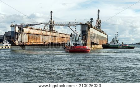 Shipyard industry is a floating dry dock in a shipyard