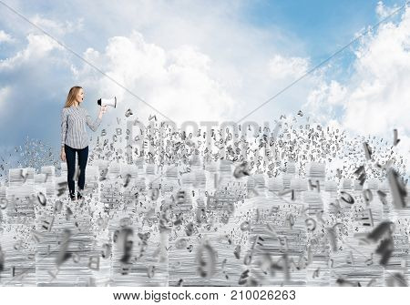 Woman in casual clothing standing on pile of documents with speaker in hand among flying letters with cloudly skyscape on background. Mixed media.