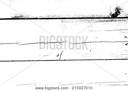 Distressed halftone grunge vector texture - old wood scratch background. Black and white vector illustration