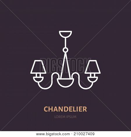 Chandelier flat line icon. Home lighting, light fixture sign. Illustration for interior lamps store.