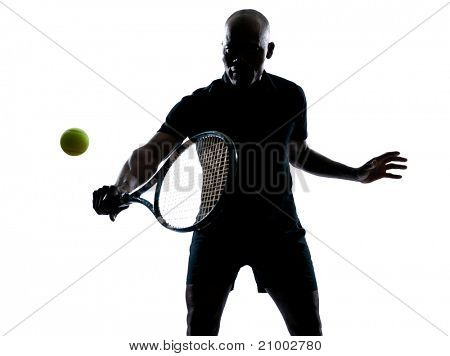 man african afro american playing tennis player backhand, on studio isolated on white background poster