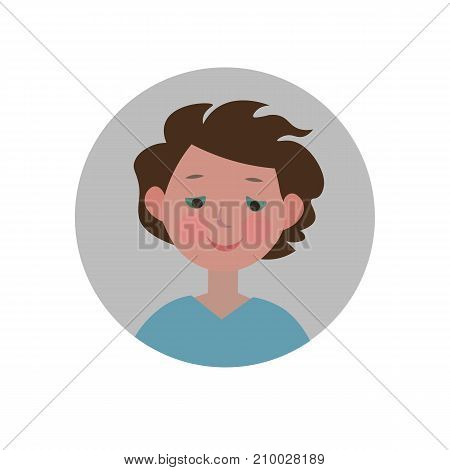 Embarrassed emoticon. Shy expression icon. Isolated vector illustration