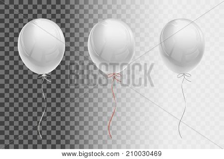 White flying balloons with ribbons of white, red, silver on a transparent background. Creative object templates.  Vector illustration