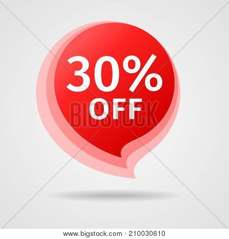 Discount Sticker with 30 percent Off. Sale Red Label Vector Illustration. Isolated Offer Price Tag. Creative Symbol Templates