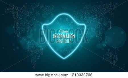Information is protected. Blue glowing neon shield. Neon banner. The system is protected. Sci-fi and hi-tech. World map. Vector illustration