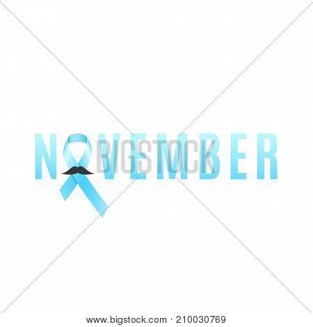 Prostate cancer ribbon awareness. Man's mustache. Fighting cancer. Light blue ribbon. The month of November. Vector illustration