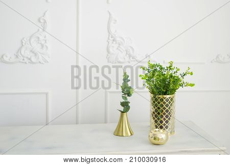 Brass golden candlestick. Green decorative plants in brass vase.