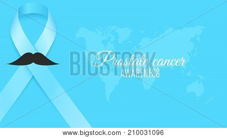 Prostate cancer ribbon awareness. Fighting cancer. Light blue ribbon with a man's mustache. World map. The month of November. Vector illustration
