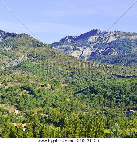 Alpine landscape of Alpes-de-Haute-Provence department in southeastern France. Neighborhoods of a medieval city of Castellane