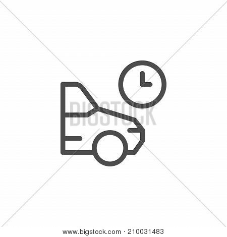 Parking time line icon isolated on white. Vector illustration