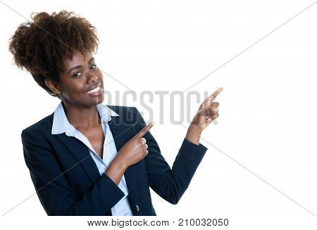 African american business woman recommending something on an isolated white background for cut out