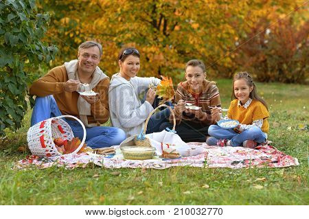 family having a picnic  in the park in autumn