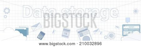 Data Storage Word On Squared Background Horizontal Banner Cloud Computing Concept Vector Illustration