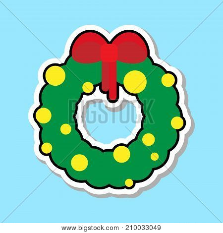 Christmas Wreath With Red Ribbon Icon Isolated Over Blue Background Sticker Holiday Decoration Concept Vector Illustration