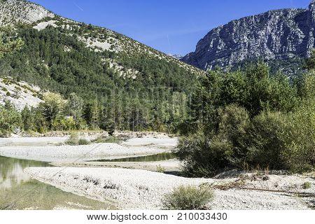 Alpine landscape of Alpes-de-Haute-Provence department in southeastern France.