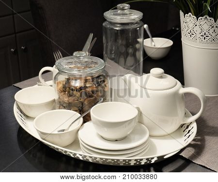 Beverage and Drink Tea Set on The Table Used for Drinking Hot Tea.