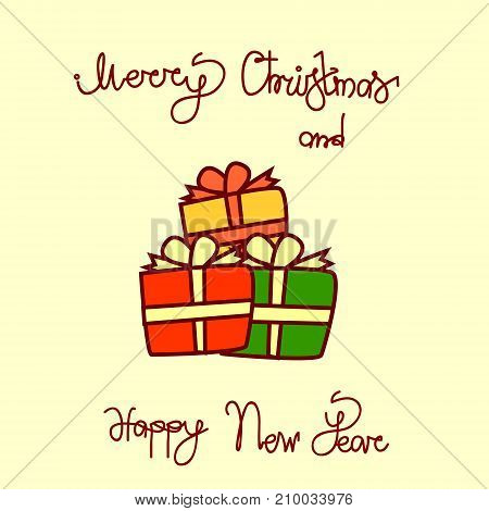 Merry Christmas And Happy New Year Greeting Card With Gift Boxes Hand Drawn Lettering Background Vector Illustration